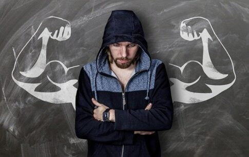 Why is mental strength important in survival, man with drawn muscles