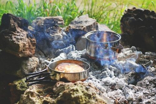 Best way to prepare food in a survival situation, a pot of a pan on a fireplace