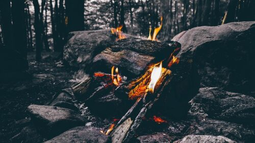 Best Way to Prepare Food in a Survival Situation, campfire near rocks