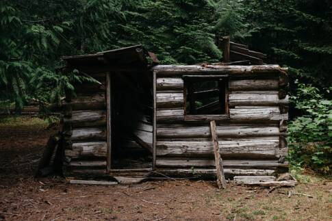 How to Waterproof a Survival Shelter, broken wooden shelter